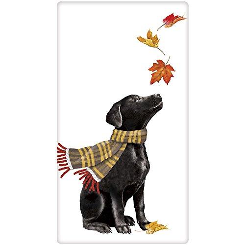 Autumn Leaves Black Labrador Retriever Dog 100% Cotton Flour Sack Dish Tea Towel - Mary Lake Thompson 30
