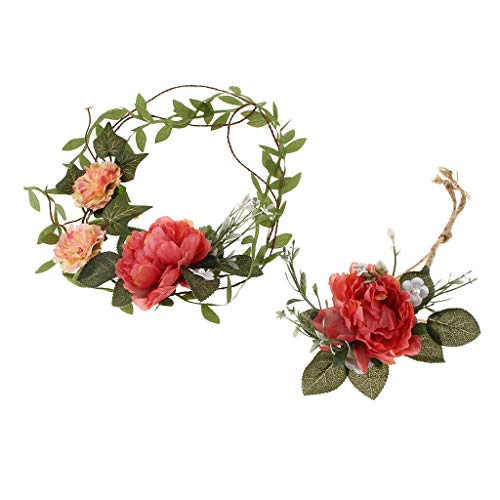 MOPOLIS 2pcs Flower Crown Boho Wedding Hair Wreath Headband Garland Wrist Band Set | Color - Red