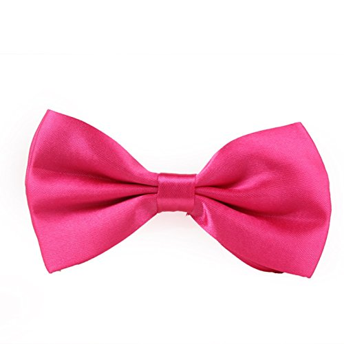 HDE Pre-tied Bowtie Adjustable Satin Polyester Bow Tie for Tuxedo Wedding Party and Other Occasions (Hot Pink)