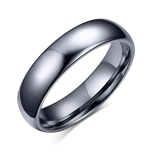 Titanium Polished Finish - SOLEED Tungsten Wedding Band For Men, 6mm Silver Tungsten Carbide Ring Polished Finish Dome Style, Comfort Fit, size 12