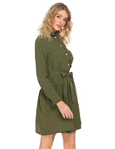 Con Casuale Verde Camicia A Della Frontale Oliva Lunga Cintura Allentato Vestito Rigonfiamenti Pulsante Manica Maglia wCPqRA5