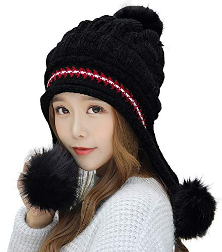 (E.Joy Online Women Peruvian Earflap Beanie Hat Knitted Pom Winter Hat Ladies Black)