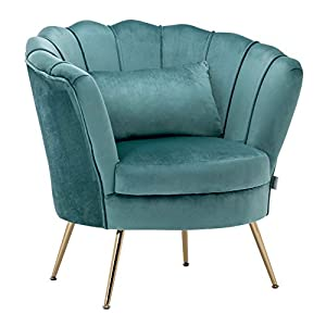 WamieHomy Armchair Velvet Upholstered Lotus Oyster Shell Occasional Tub Chair for Living Room Bedroom Reception Contemporary (Turquoise)