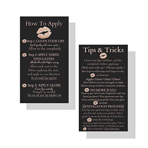 How To Apply LipSense by SeneGence Tips and Tricks Cards | 50 Pack | Application Instruction Business Cards for LipSense | Black, Pink/Rose Gold ()