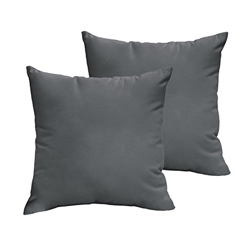 1101Design Sunbrella Charcoal Grey Knife Edge Decorative Indoor/Outdoor Square Throw Pillows, Perfect for Patio Décor, (Charcoal Grey 20