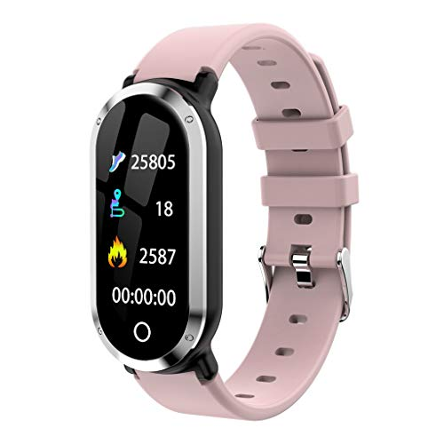 Kanzd T1 Men Women Blood Oxygen Blood Pressure Heart Rate Monitor Sports Smart Watch (Pink) ()