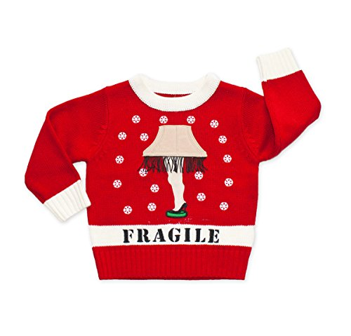 Fragile Costume Christmas Story (Children's Leg Lamp Sweater (Red) - Ugly Holiday Sweater (8-20 X-Large))
