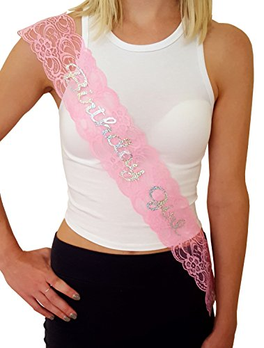 (Birthday Girl Lace Sash - Great for Sweet 16, 18th, 21st, 30th, 40th Birthday Parties)
