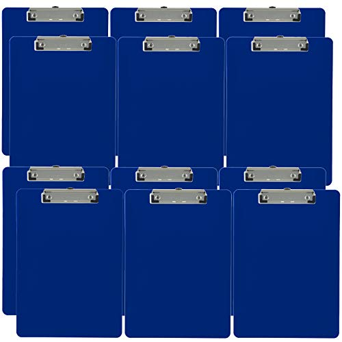 Trade Quest Plastic Clipboard Opaque Color Letter Size Low Profile Clip (Pack of 12) -