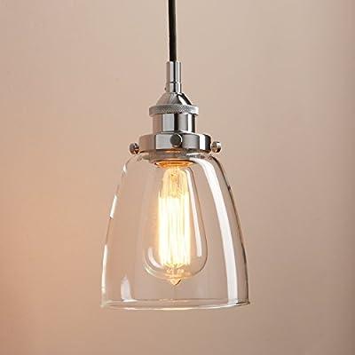 "Pathson Rustic Retro Oval-Shaped Style Pendant Light Dia 5.6"" with Metal Base Cap and Adjustable Textile Cord Industrial Simple Design Pendant Lamp Loft Vintage Flush Mount Ceiling Light Fixtures"