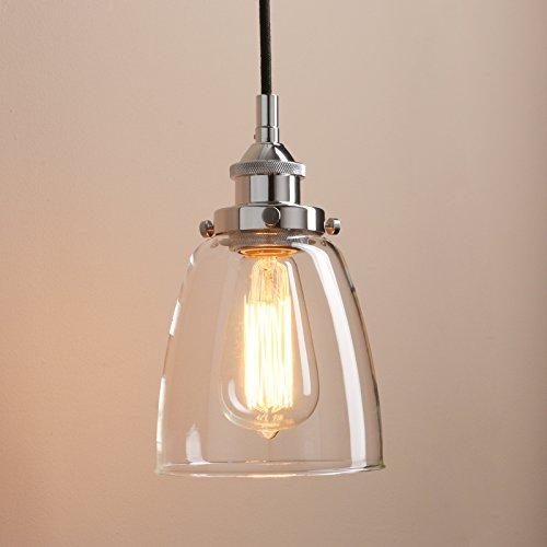 "Pathson Rustic Retro Oval-shaped Style Pendant Light Dia 5.6"" with Metal Base Cap and Adjustable Textile Cord Industrial Simple Design Pendant Lamp Loft Vintage Flush Mount Ceiling Light Fixtures (Black Chrome Light 2)"