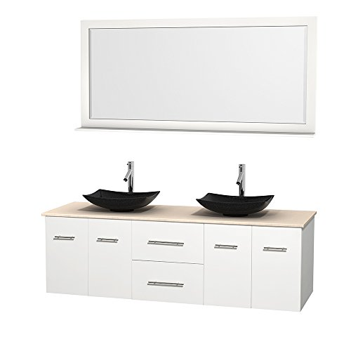 Wyndham Collection Centra 72 inch Double Bathroom Vanity in Matte White, Ivory Marble Countertop, Arista Black Granite Sinks, and 70 inch Mirror