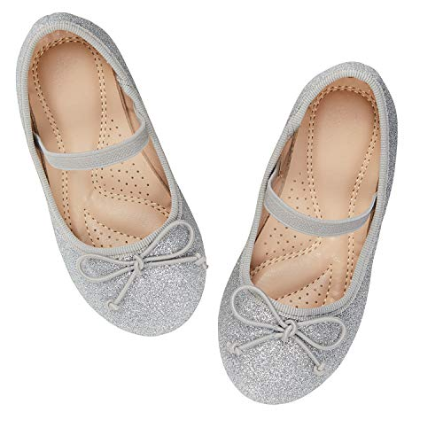 ADAMUMU Toddler Dress Shoes Mary Jane Shoes for Girls Ballerina Flat Glitter Shoes for Princess Wedding Party School Uniform Daily Wear,11M US Little Kid,Silver]()