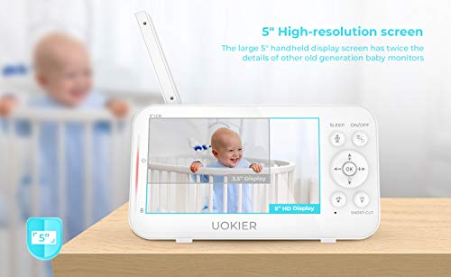 "41XzIv%2BoVsL - Baby Monitor, UOKIER 5"" Video Baby Monitor With Camera And Audio, 1080P HD Baby Camera, 5200 MAh Battery, 1000ft Range, 2-Way Audio, Auto Night Vision, Temperature Monitoring, Lullabies"