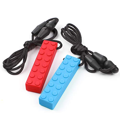 (Sensory Chew Necklace by TYRY.HU Set Teether Brick Silicone Chewing Pendant Perfect for Autism ADHD SPD Oral Motor Teething & Biting Needs 2 Packs Tough and Long-Lasting(Red Blue))
