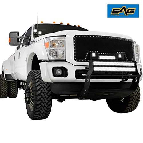 EAG Cutout Rivet Black Stainless Steel Wire Mesh Grille with 3 LED Lights Fit for 11-16 Ford Super Duty F-250/F-350 1PC
