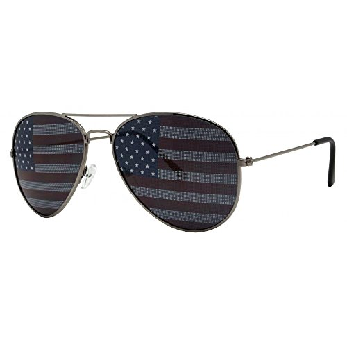 Aviator Sunglasses Retro Vintage Black Lens Police Pilot Style (Aviator, Patriotic USA Flag)