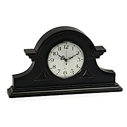 Imax Black Mantel Clock – Decorative Desk Clock for Living Room, Kitchen, Accurate Tabletop Clock. Home Decor
