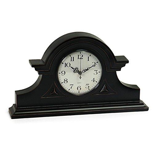 IMAX Black Mantel Clock - Decorative Desk Clock for Living Room, Kitchen, Accurate Tabletop Clock. Home Decor