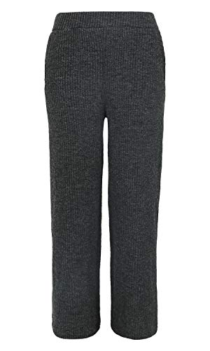 Trousers Solid Ililily Knit Stretchable Pants Elastic Grey Wide Long Women Ribbed zw4waOqHU