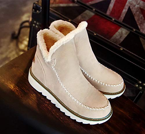 34 Pelliccia Scarpe Boots Scamosciata Stivaletti Ankle Marrone Zeppa Caldo Bassi Con Beige Stivali 3cm 43 Donna Invernali Snow Neve Comode Nero wwIzHp