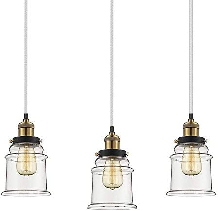 Kiven Set of 3 H-Type Track Pendant Light Industrial Hanging Lamp