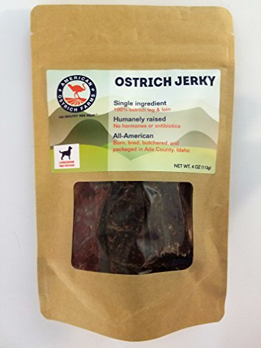 Ostrich Jerky for Pets: Single Ingredient, 100% Natural, All-American, tastes just like beef, but far healthier! For Sale