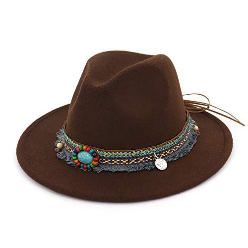 - KKONION Fedoras Hat for Women Tassel Bohemia Ribbon Elegant Lady Winter Autumn Jazz Sombrero Caps Coffee