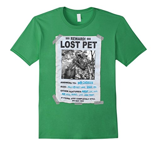Men's T rex lost pet T shirt funny humour Large Grass (Dinosaur Costume Adults Realistic)