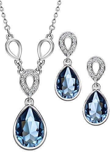 3d90f141a6c2 NEOGLORY Conjunto Collar Pendientes con Cristales SWAROVSKI AZUL  Hipoalergénico Joya Original Regalo Mujer Chica  Amazon.es  Joyería
