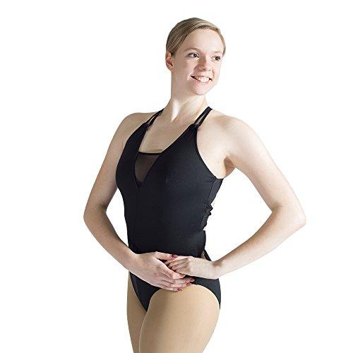 - Women Camisole Leotard Double Strap Cotton Mesh Bodysuit Small Black