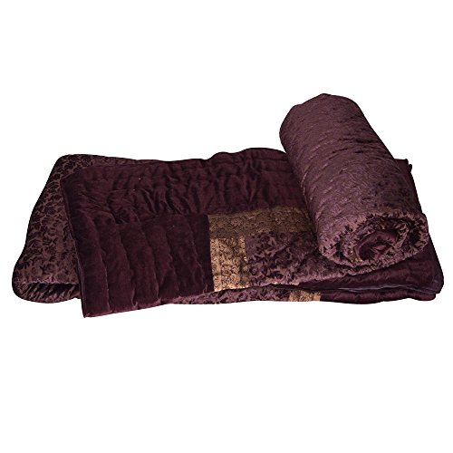 E-Tailor 152 TC Twin Size Jaipuri Floral Style Single Bed Velvet Quilts Pair Brown 90x60 - Velvet Jaipuri