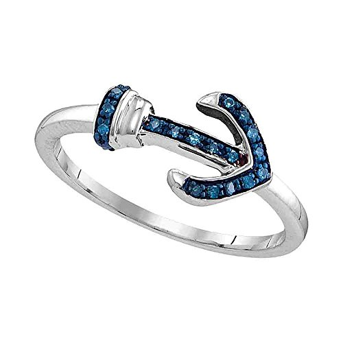 Sterling Silver Round Blue Diamond Anchor Ring 0.48 Cttw (Ring Blue Diamond Accented)