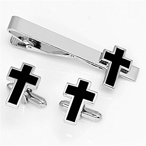 Tone Cross Cufflinks - MGStyle Customized Engraving Cufflinks Tie Clip Set For Men - Crucifix Cross Christan Jesus - Black & Silver Tone - Stainless Steel with Deluxe Gift Box