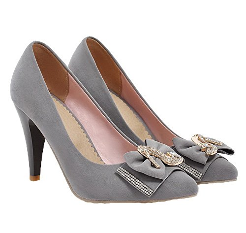 Pointed High Frosted Pull Womens on heels Pumps Amoonyfashion toe Gray Solid shoes 5qtX4x0qw