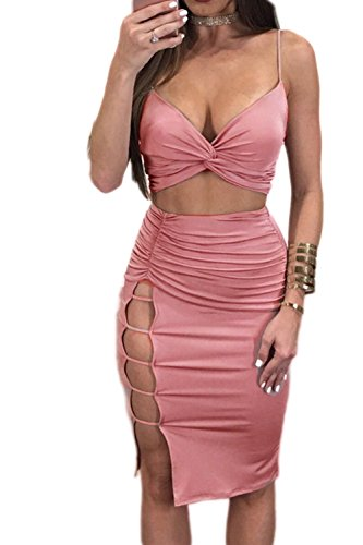 Dress Slip Ruched Sexy (Women Slip Deep V-Neck Ruched Hollow Out Two Pieces Club Dress Pink XS)