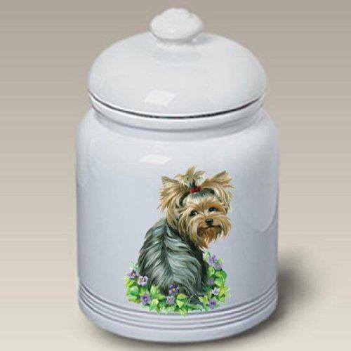Terrier Cookie Jar - Yorkshire Terrier (With Flowers): Ceramic Treat Jar 10