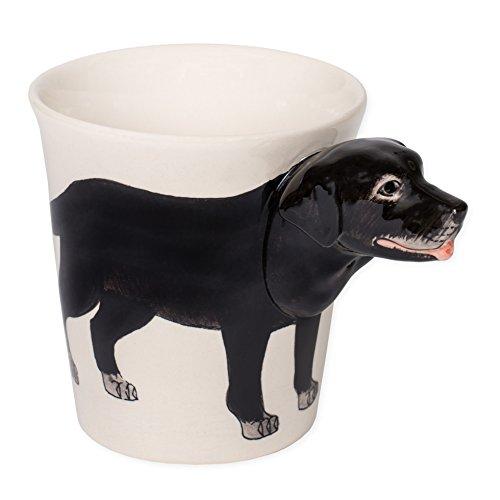 Black Labrador Retriever Dog 8 oz. Ceramic Stoneware Hand Painted Coffee Mug (Hand Painted Stoneware Mugs)