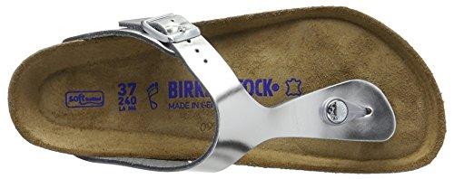 Birkenstock Gizeh Leder, Chanclas para Mujer, Gris Plateado (Metallic Silver)