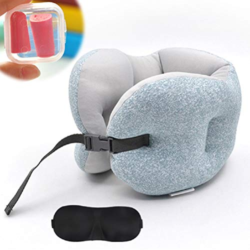 IMPHOM Travel Pillow Foam Particle Neck Head Chin Support Memory Foam Cover Free Eye Mask Earplug for Airplanes Car Office Home Soft by Kid Traveler Family Friend (Light Blue)