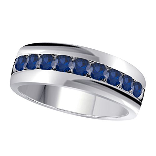 6MM Channel Set 1.00 Ct Round Shape Brilliant Cut Lab Created Blue Sapphire Single Row Fancy Men's Wedding Band Ring in 14K White Gold Fn Alloy (Set Sapphire Single)
