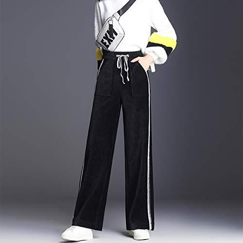 Alta Black Gamba Elastico Larga Più Fohee 28 Culottes Sciolto In Casual Pantaloni Donna Velluto Da Vita black qqSn4gx