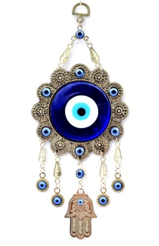 Betterdecor Blue Evil Eye with Hamsa Hand Protection Hanging Ornament (with a Pouch)-006 (Best Halloween Decorations Los Angeles)