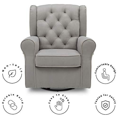 41XzM2swGIL - Delta Children Emerson Upholstered Glider Swivel Rocker Chair, Dove Grey With Soft Grey Welt