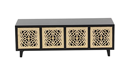 Deco 79 82186 Black Four-Drawer Rectangular Jewelry Chest, 6'' x 17'', Gold/Black by Deco 79