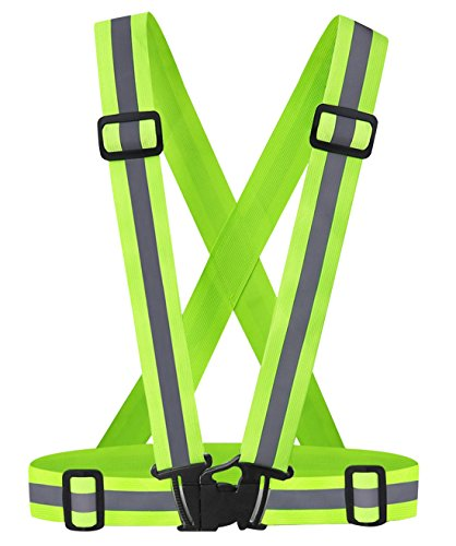 Feoya Reflective Vest Safty Gear Adjustable High Visibility Running Belt Strap Green