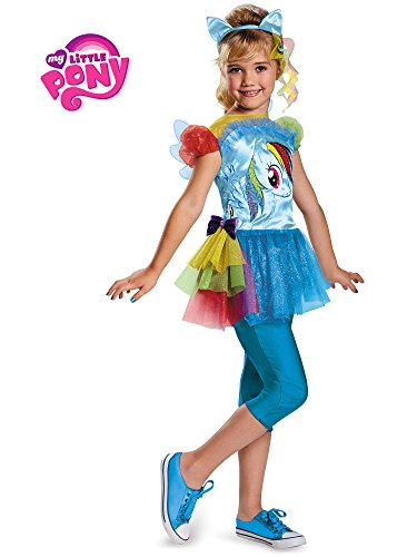 Hasbro's My Little Pony Rainbow Dash Classic Girls Costume, Medium/7-8 (My Little Pony Flip & Whirl Rainbow Dash)