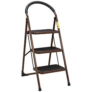Ollieroo Ladder EN131 Steel Folding 3 Step Stool with Comfy Grip Handle Anti-slip Step Mon-marring Feet 330-pound Capacity Dark Brown