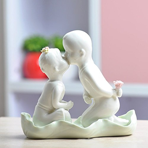 LU2000 Cute Little Couple Lovely Lovers Home Decorations Ceramic Crafts Stylish Furnishings Decorative Table Ornaments Modern Art Desk Sculpture 6.3 inch - Love kiss