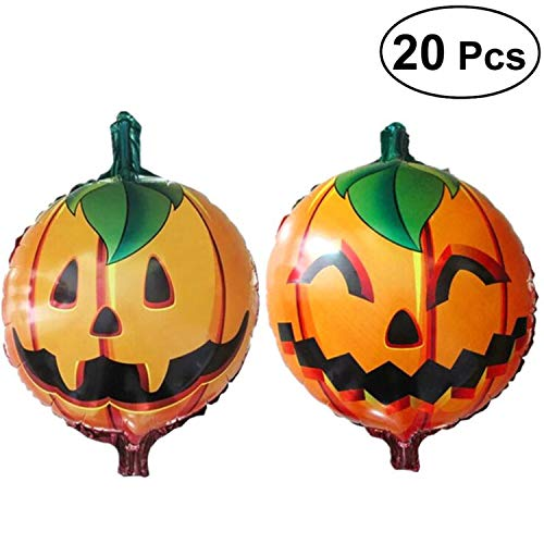 20pcs Pumpkin Ballons Decorative Party Favors Halloween Mylar Balloon Foil Ballons Party Supplies for Party Holiday ()